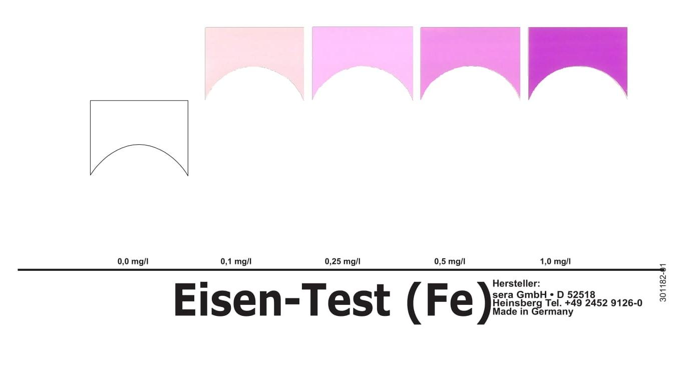 test Fe sera kiểm tra sắt trong nước - bảng so màu